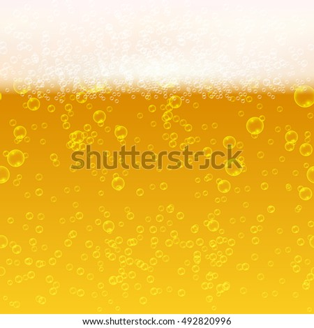 Close up light beer with foam and bubbles vector seamless background. Fresh beverage beer illustration