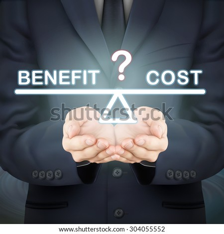 close-up look at businessman holding benefit and cost seesaw - stock vector