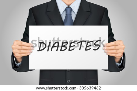 close-up look at businessman holding diabetes word poster - stock vector