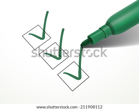 close-up look at green pen marking on the check box over white paper - stock vector