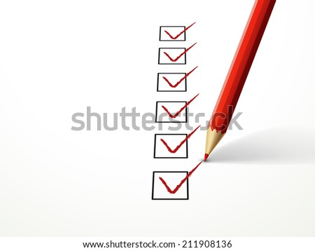 close-up look at red pen marking on the check box over white paper - stock vector
