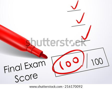 close up look at score on final exam paper with red pen - stock vector