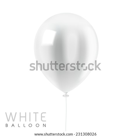 close up look at white balloon isolated on white  - stock vector
