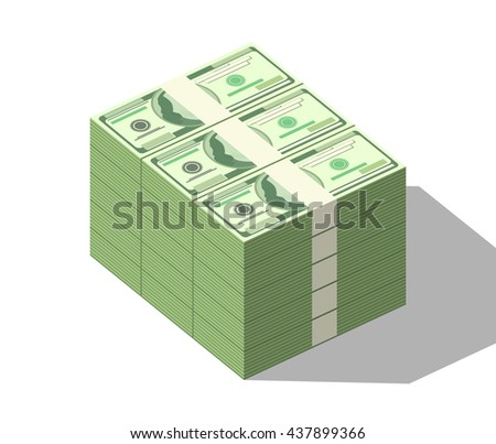 Close-up money stack with shadow isolated on white background. Detailed vector one hundred dollars banknotes. Big stacked isometric pile of cash - stock vector
