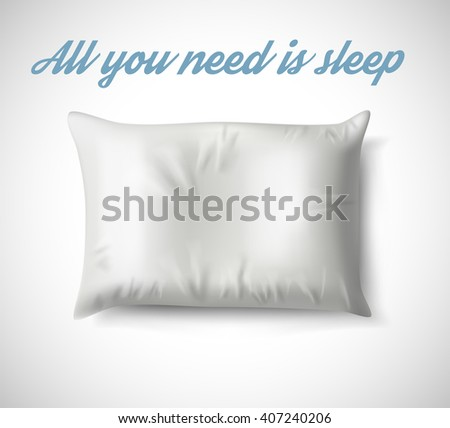 close up of a white pillow on white background.Vector illustration EPS10