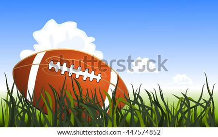Close up of an american football on the field, vector illustration - stock vector