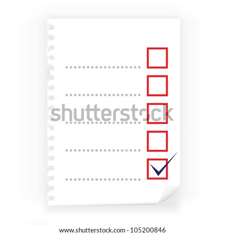 Close up of checkbox notepad paper - stock vector