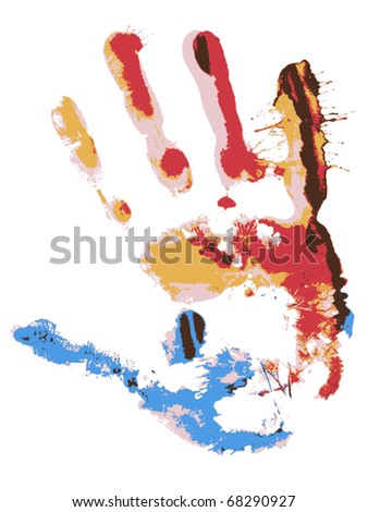 Close up of colored hand print on white background. Vector - stock vector