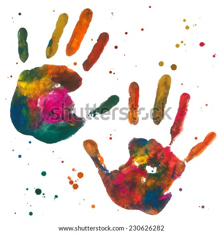 Close up of colored hand prints on white background  - stock vector