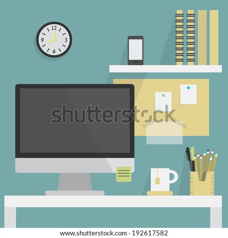 Close up of flat, modern, and stylish working place - stock vector