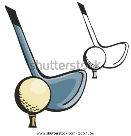Close up of golf stick and ball. Vector illustration - stock vector