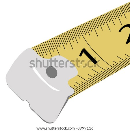 close up of one and two inches on measuring tape - vector - stock vector