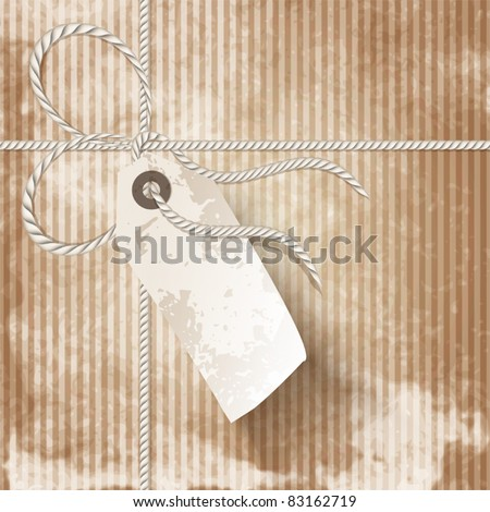 Close up of vintage parcel post with tag - stock vector