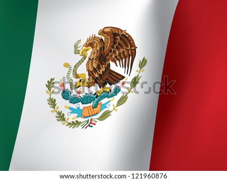close up of waved Mexican flag vector illustration - stock vector