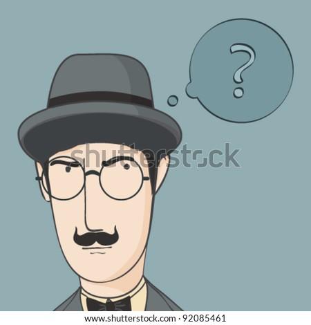 Close-up portrait of cartoon detective - stock vector