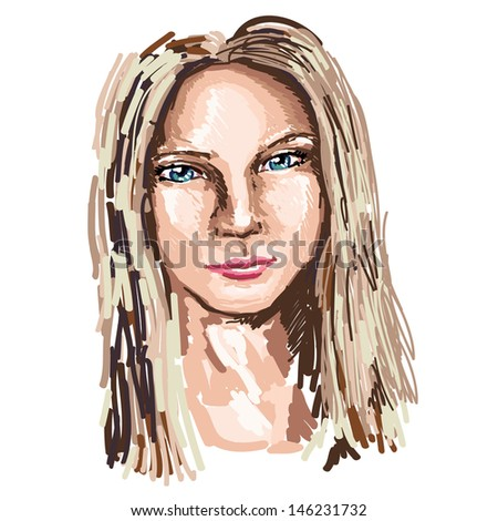 Close up realistic portrait of young woman - stock vector