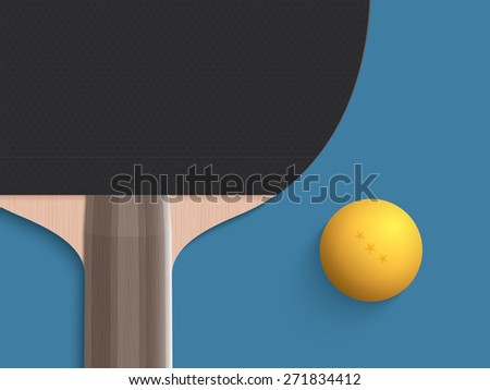 Close up table tennis and ball - stock vector