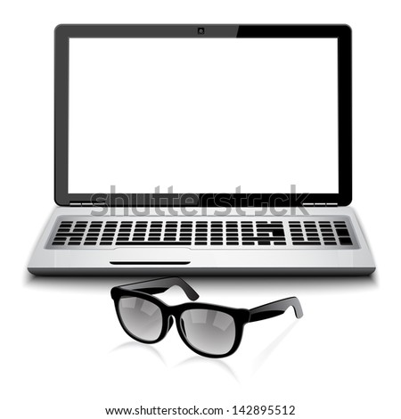close-ups on glasses and laptop - office life - stock vector