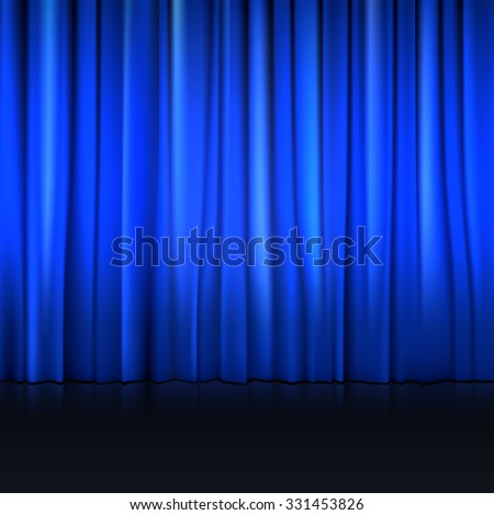 Close view of a blue curtain. Vector illustration background for your presentation