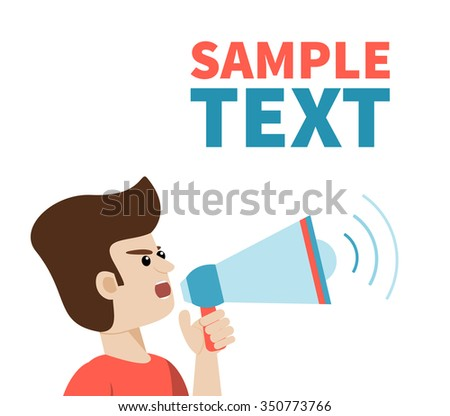Close view of man shouting with megaphone. Vector art on isolated background with place for text. Illustration for public announcement, advertising, communication, protesting, important message etc. - stock vector