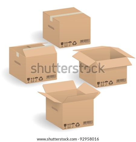 Closed and open Cardboard boxes, vector illustration - stock vector
