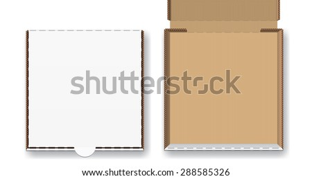 Closed and open pizza box, vector illustration set - stock vector