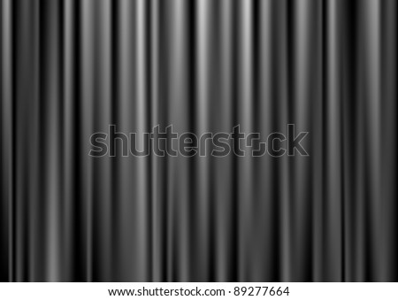 Closed black theater curtain, silk background, vector illustration - stock vector