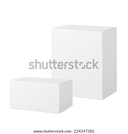 closed blank paper boxes set isolated on white - stock vector