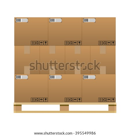 closed brown carton delivery boxes  with fragile signs and barcode on wooden pallet. vector illustration in flat design isolated on white background - stock vector