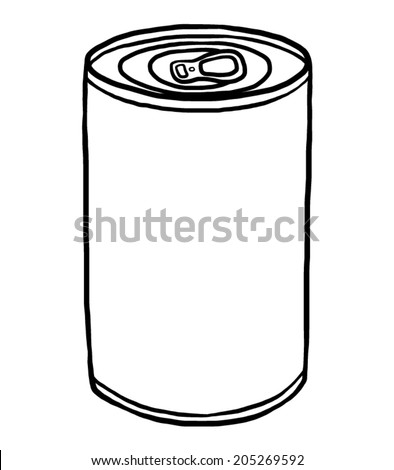 closed can / cartoon vector and illustration, black and white, hand drawn, sketch style, isolated on white background. - stock vector