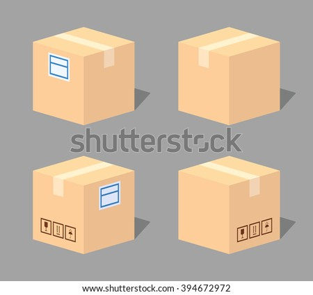 Closed cardboard box. 3D lowpoly isometric vector illustration. The set of objects isolated against the grey background and shown from different sides - stock vector