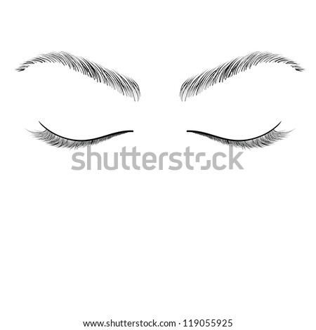 Closed Eyes Sketch Vector Stock Vector 119055925 ...