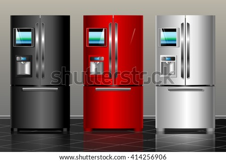 Closed fridge. Vector illustration black, red, white metal modern fridge of the interior - stock vector