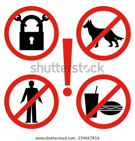 Closed, no dogs, no food, no entrance to outsiders. Set of posters, signs, safety warning and prohibitory.Warning signs. - stock vector