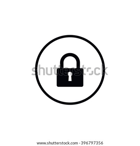 Closed padlock icon. - stock vector