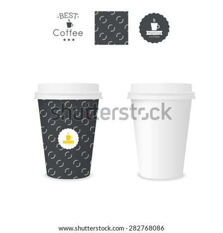 Closed paper cup for coffee with texture. Sample seamless pattern coffee badge. Mock up. black - stock vector