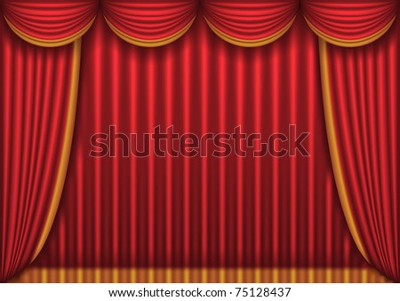 Closed red theater curtain, background, vector illustration