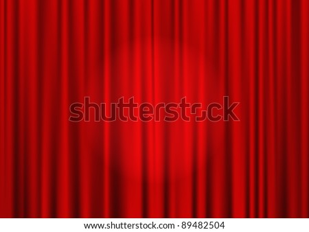 Closed red theater curtain with spotlight in the center, silk background, vector - stock vector