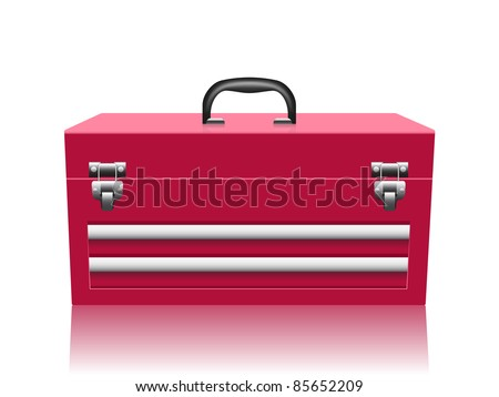 closed red toolbox isolated on white background - stock vector