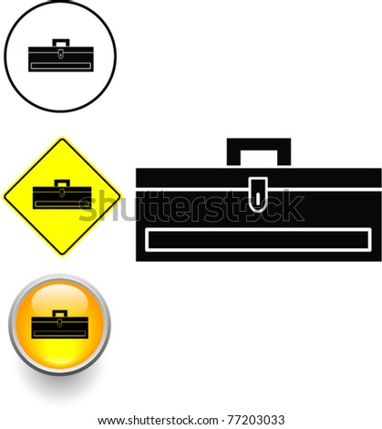 closed toolbox symbol sign and button - stock vector