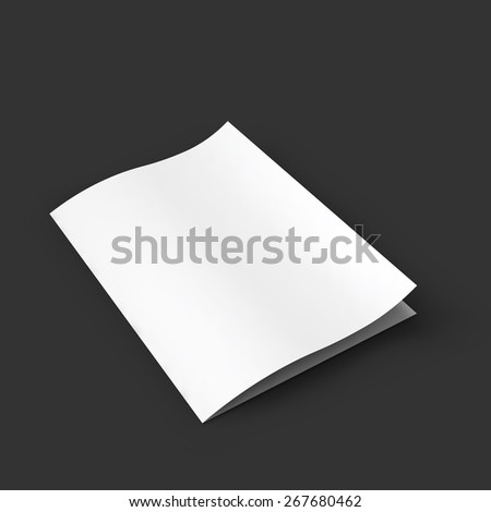 Closed white booklet with a curved leaf. Business mockup template. Presentation of your branding and identity design. Vector Illustration EPS10. - stock vector