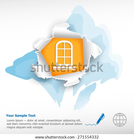 Closed window and breakthrough paper hole with ragged edges on watercolor background - stock vector