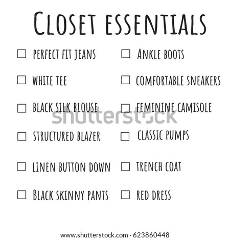 Closet Wardrobe Essentials List