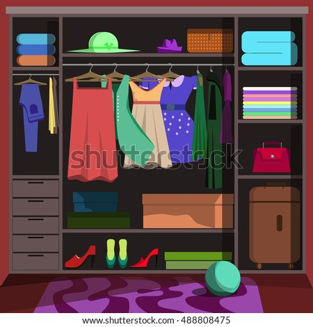 Closet Wardrobe With Fashion Clothes Room Woman Clothing Shoes And