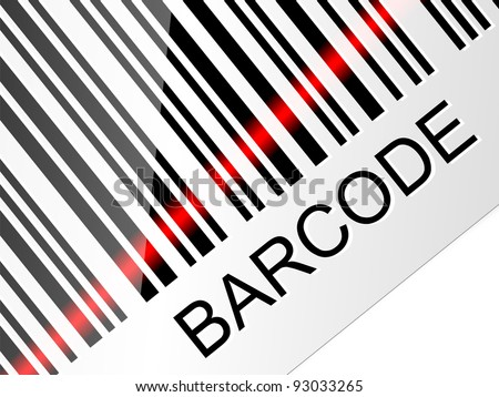 Closeup barcode with red laser beam. Vector illustration - stock vector