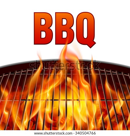 Closeup BBQ grill fire on white background - stock vector