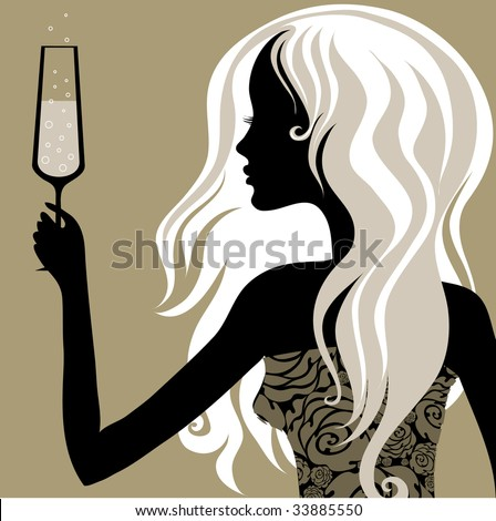 "Closeup decorative vintage blond woman with glass of champagne (From my big ""Vintage woman collection"") - stock vector"