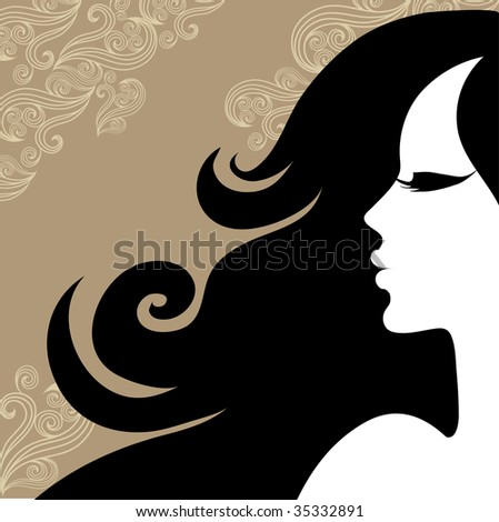 "Closeup decorative vintage woman with beautiful long hair (From my ""Vintage woman collection"") - stock vector"