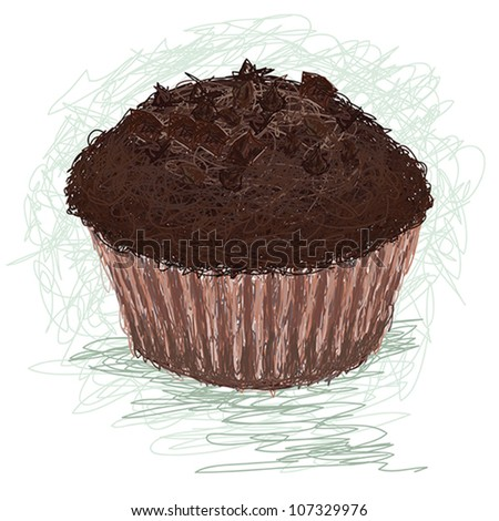 closeup illustration of a chocolate muffin, cup cake snack. - stock vector