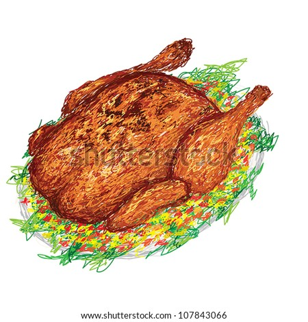 closeup illustration of a freshly roasted chicken in a plate with side dish and vegetables. - stock vector